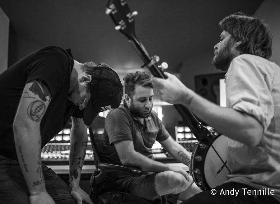 Brad Cook, Jon Ashley, and Mike Taylor in the studio during the recording of Heart Like a Levee, the new record from Hiss Golden Messenger to be released Friday (10/7/2016).  Photo by Andy Tenille