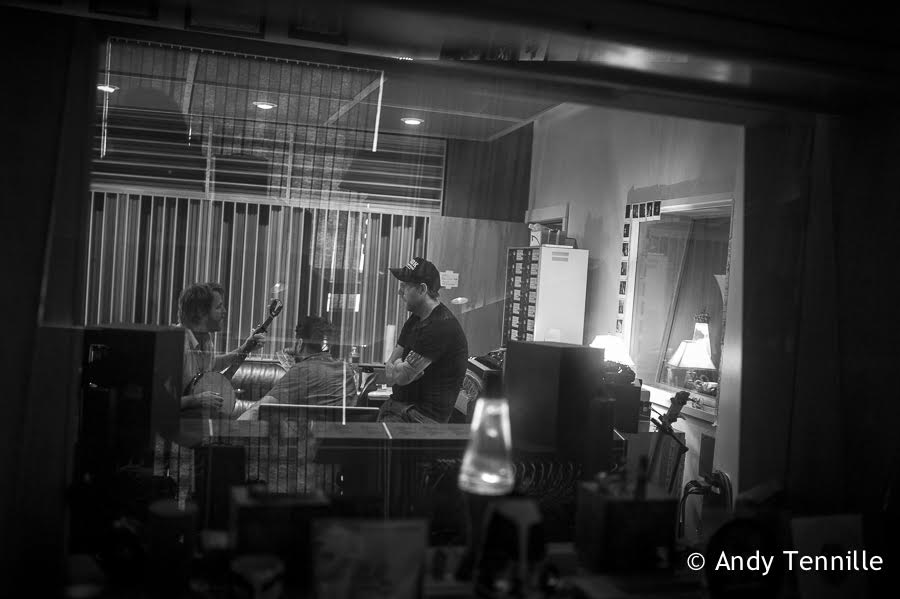 Mike Taylor, Jon Ashley and Brad Cook discuss  Heart Like a Levee . Photo by Andy Tenille