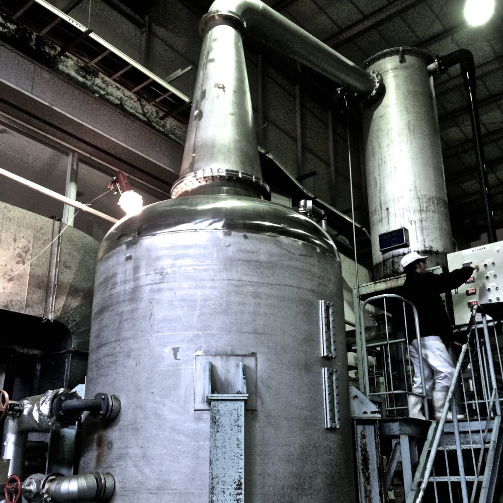 Stainless steel pot still at Munemasa Shuzo Co., Arita, Japan.