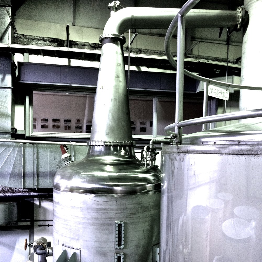 Stainless steel pot still where our shochu is single distilled.