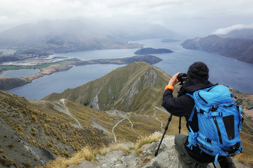 At the top of Roys Peak, Wanaka
