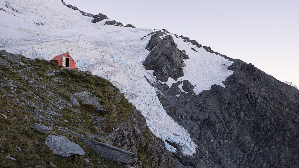 Tawaewae Glacier with Sefton Biv Hut in front