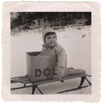 Small Ruth on a sled
