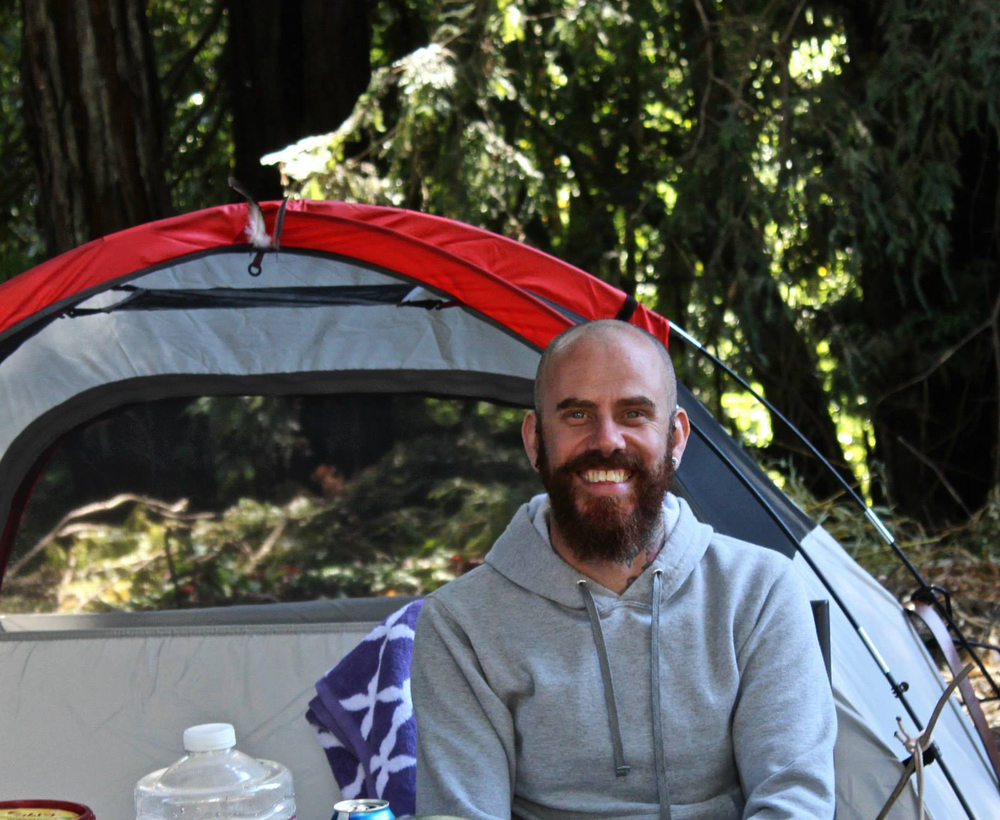 my friend collin, camping at the highlands resort in guerneville