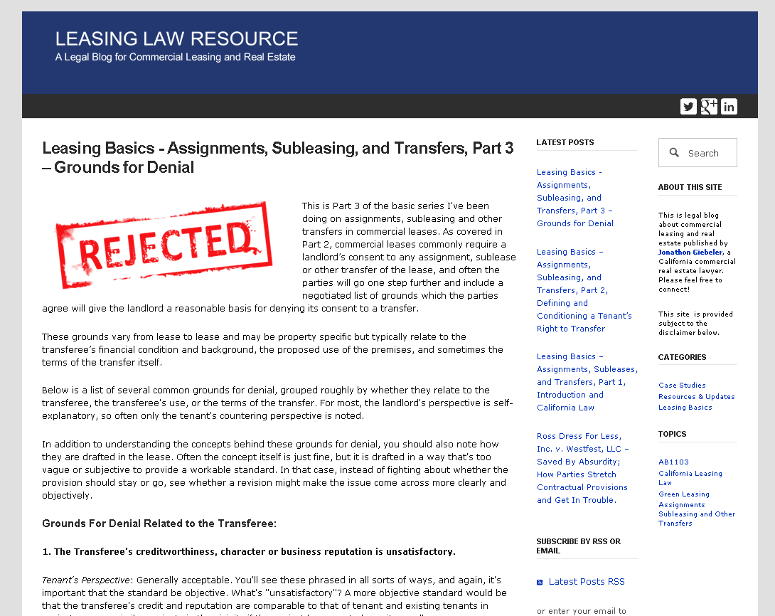 Leasing Basics – Assignments, Subleases, and Transfers, Part