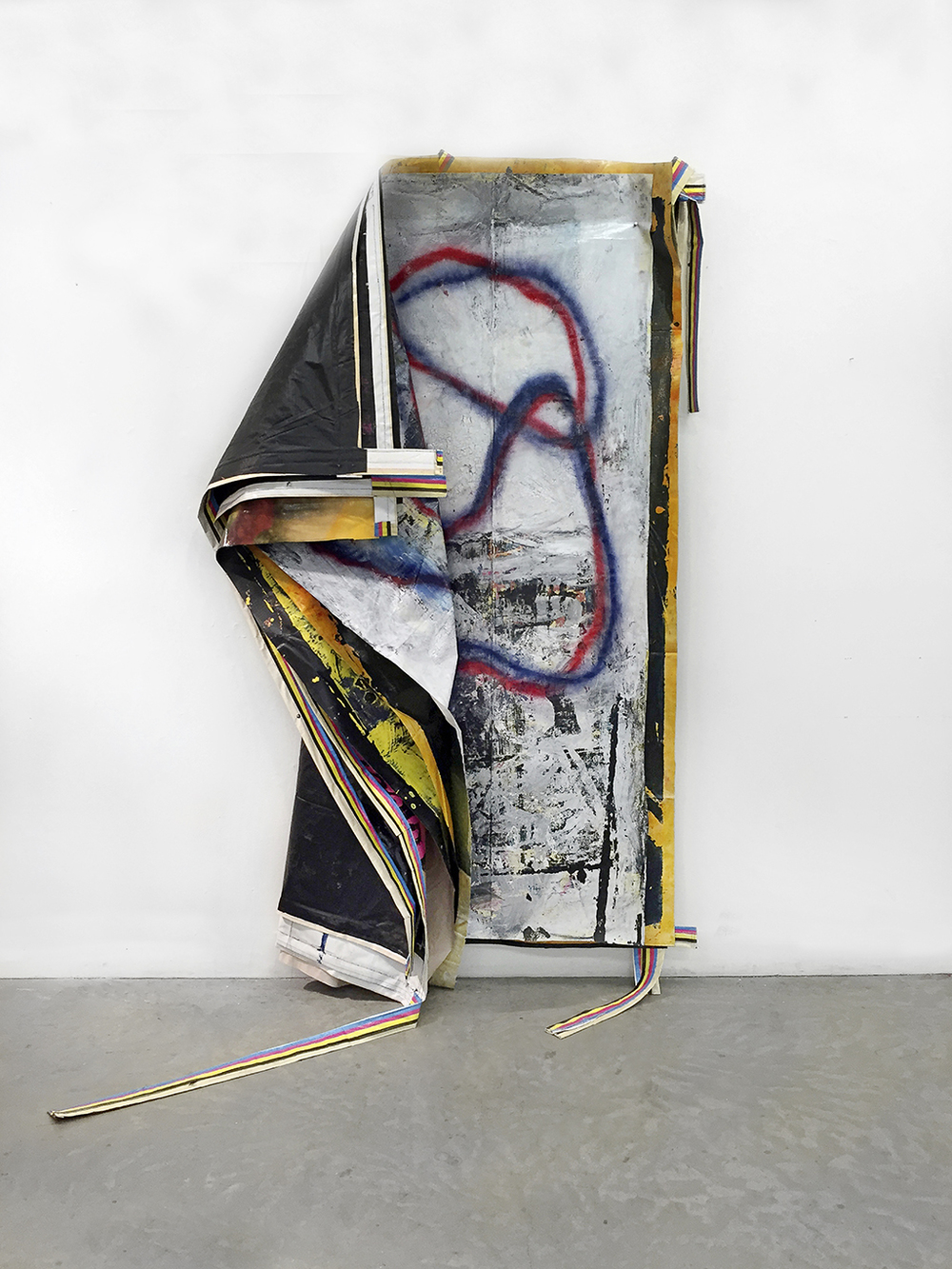 Kyle Goldbach |  DroopStack , 2015, paint/ink on billboard vinyl, 96x 78 inches