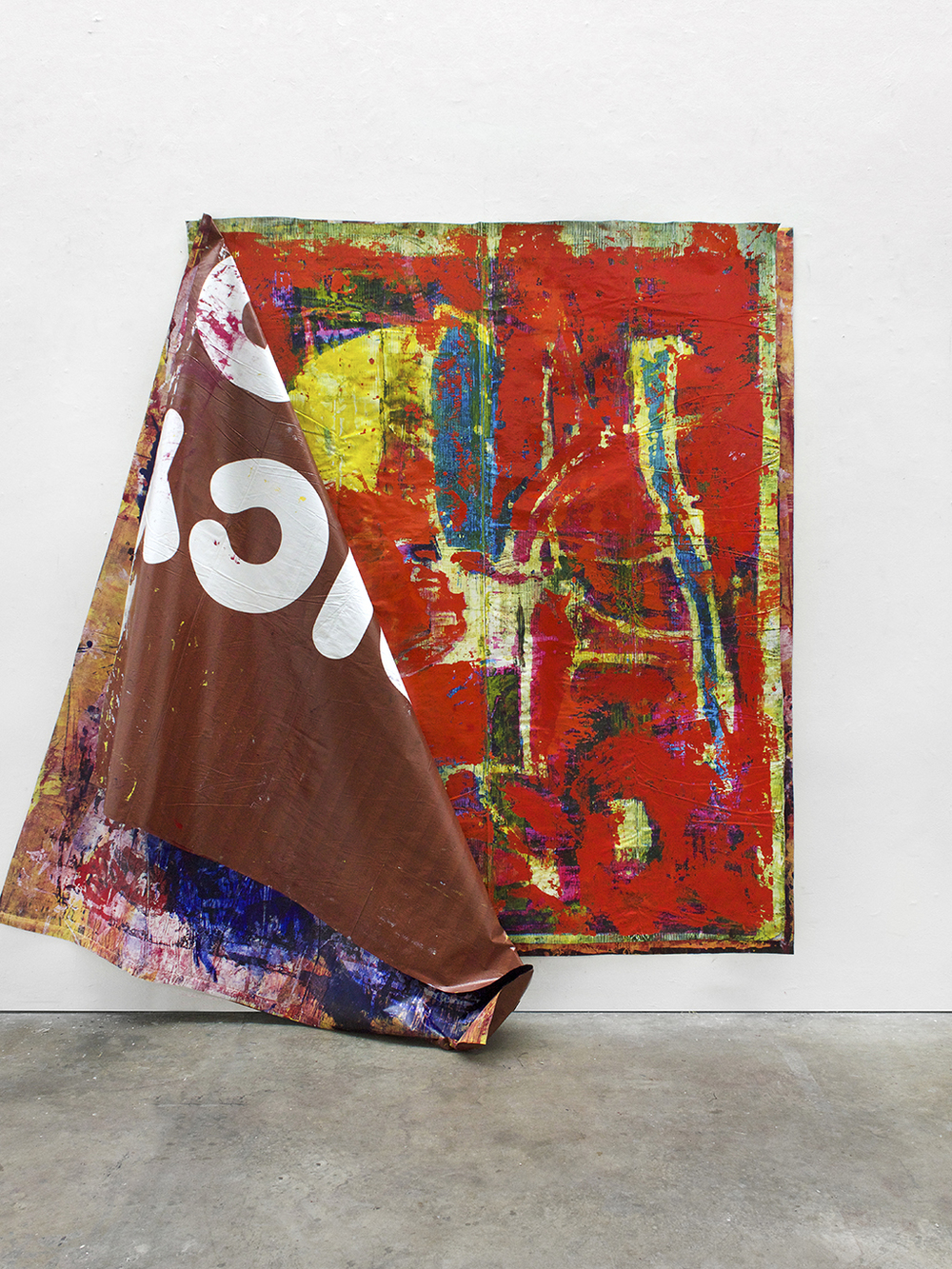 Kyle Goldbach |  Unfolding (Container II) , 2015, paint/ink on billboard vinyl, 96 x 78 inches