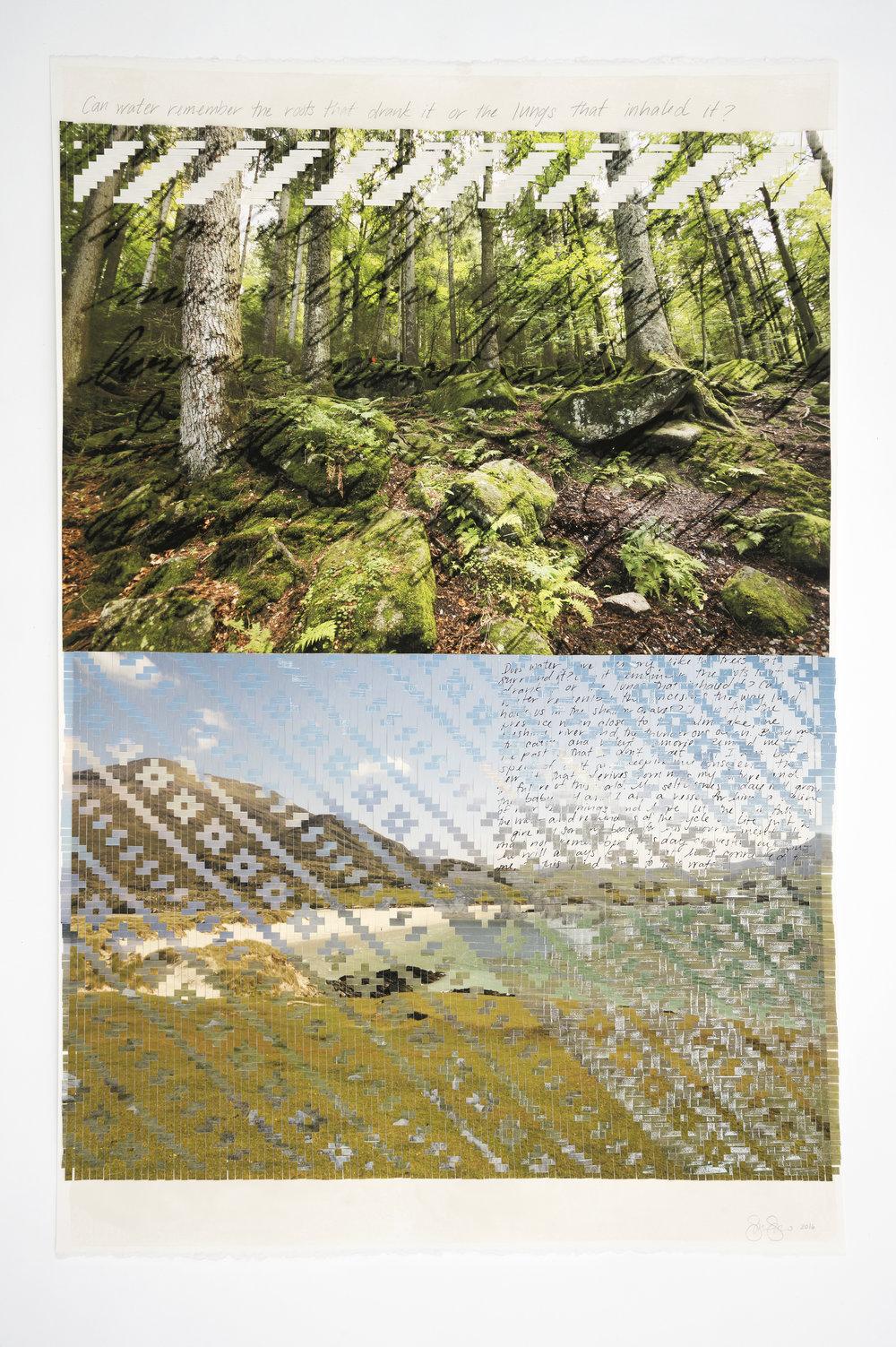 "Sarah Sense |  Remember 2 , 2016, watercolor paper, archival prints, bamboo paper, rice paper, tape, wax, graphite, 45"" x 30"""