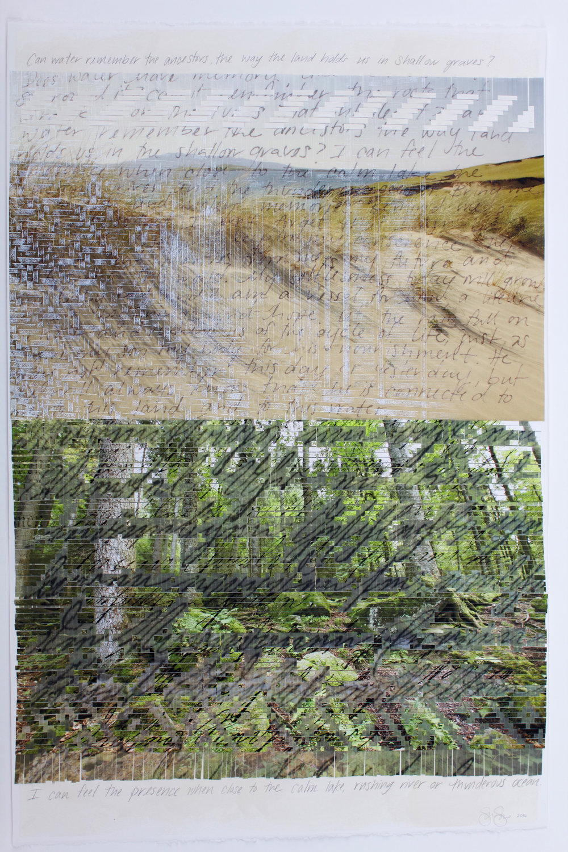"Sarah Sense |  Remember 3 , 2016, watercolor paper, archival prints, bamboo paper, rice paper, tape, wax, graphite, 45"" x 30"""