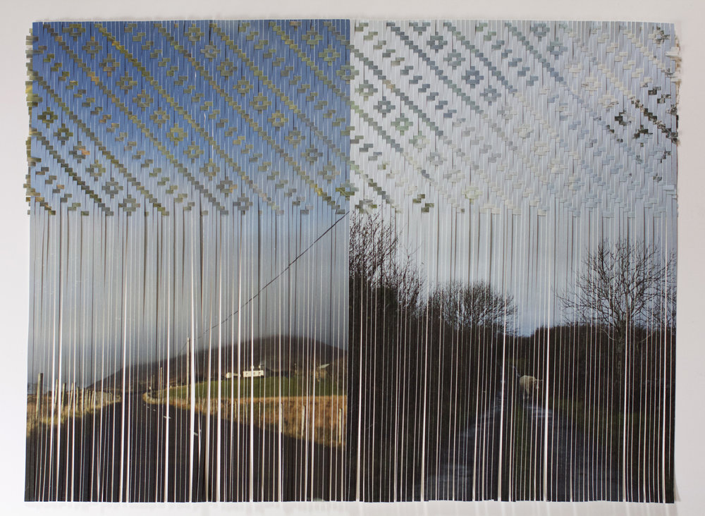 "Sarah Sense |  Choctaw Irish Relation 13 , 2015, bamboo paper, rice paper, inkjet print, wax, tape, 22"" x 30"""