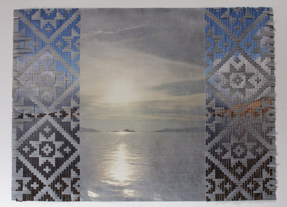 "Sarah Sense |  Choctaw Irish Relation 14 , 2015, bamboo paper, rice paper, pen and ink, inkjet print, wax, tape, 22"" x 30"""