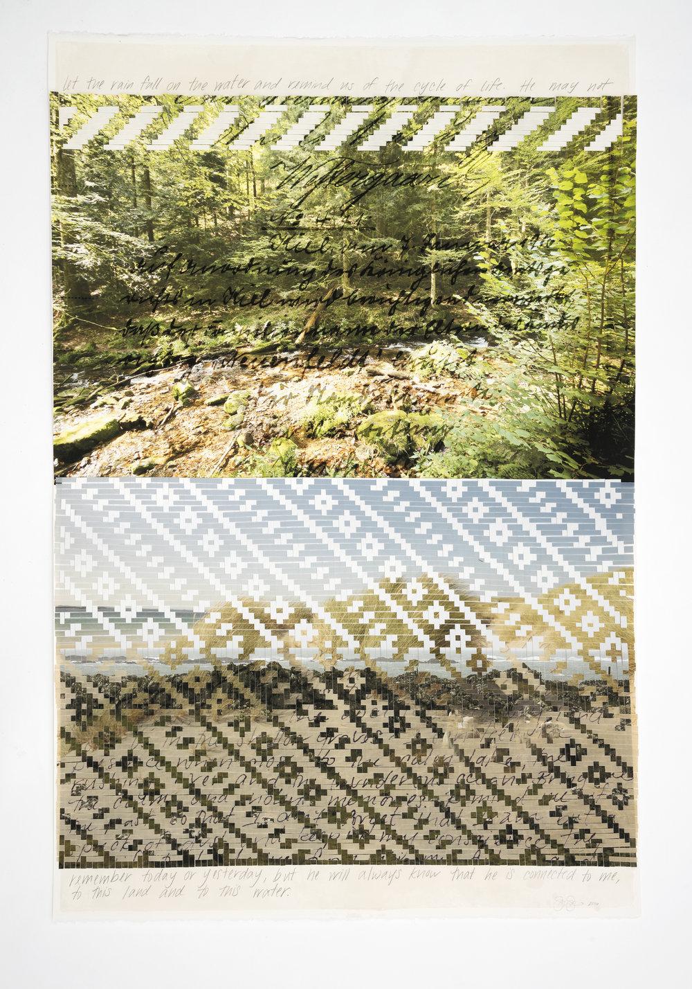 "Sarah Sense |  Remember 7 , 2016, watercolor paper, archival prints, bamboo paper, rice paper, tape, wax, graphite, 45"" x 30"""