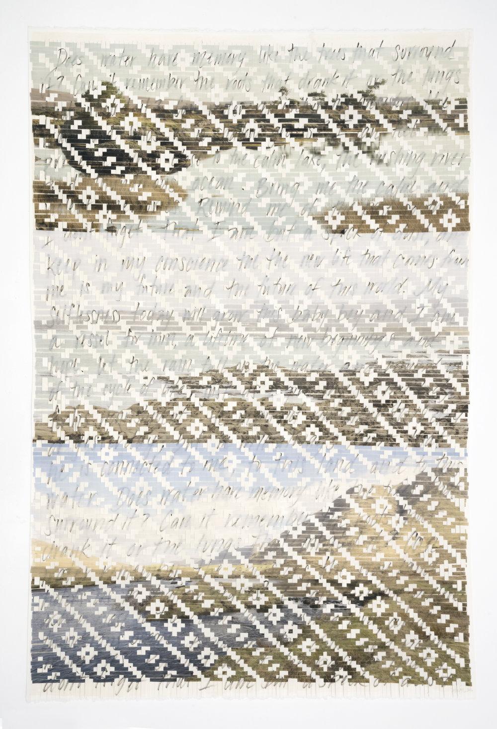 "Sarah Sense |  Remember 8 , 2016, watercolor paper, archival prints, rice paper, tape, wax, graphite, 45"" x 30"""