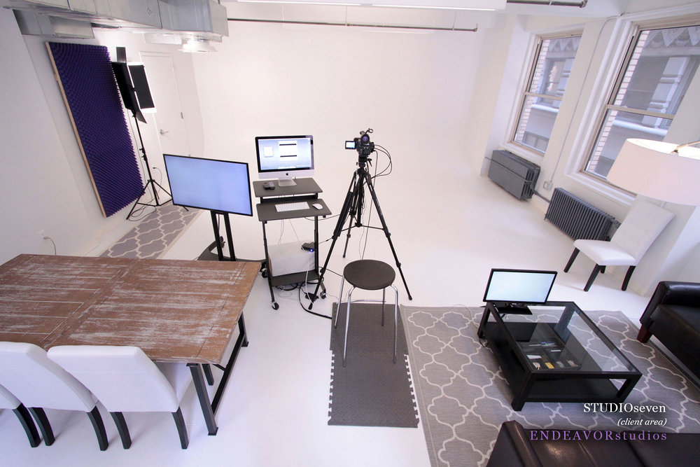 """- Commercials22 x 24 furnished premium suite24' Cyc wallHD camera & lighting equipment39"""" HD mobile monitorClient area with additional monitor & mini-fridge2 window walls"""