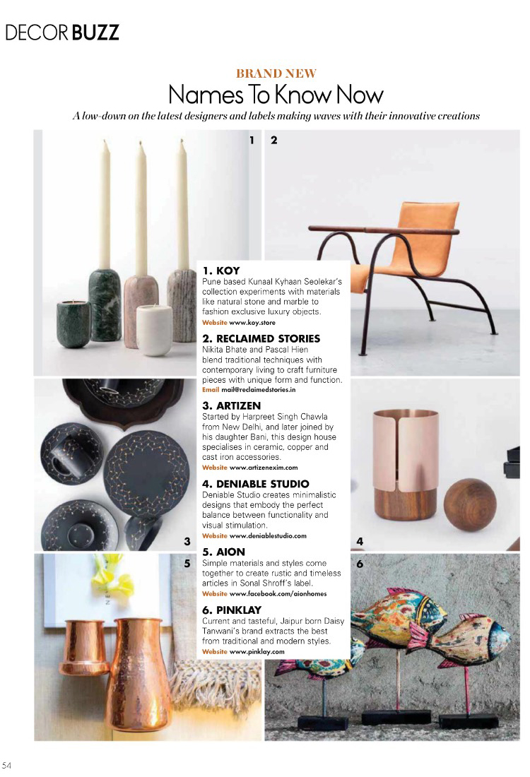 Elle Decor India  | Decor Buzz |  KOY  |  Cosmos Candle Holders