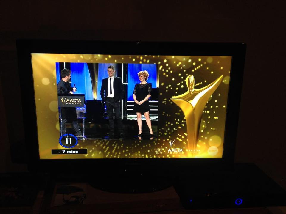 Here is Jonathan, Zoë and I accepting the AACTA award on the TV.
