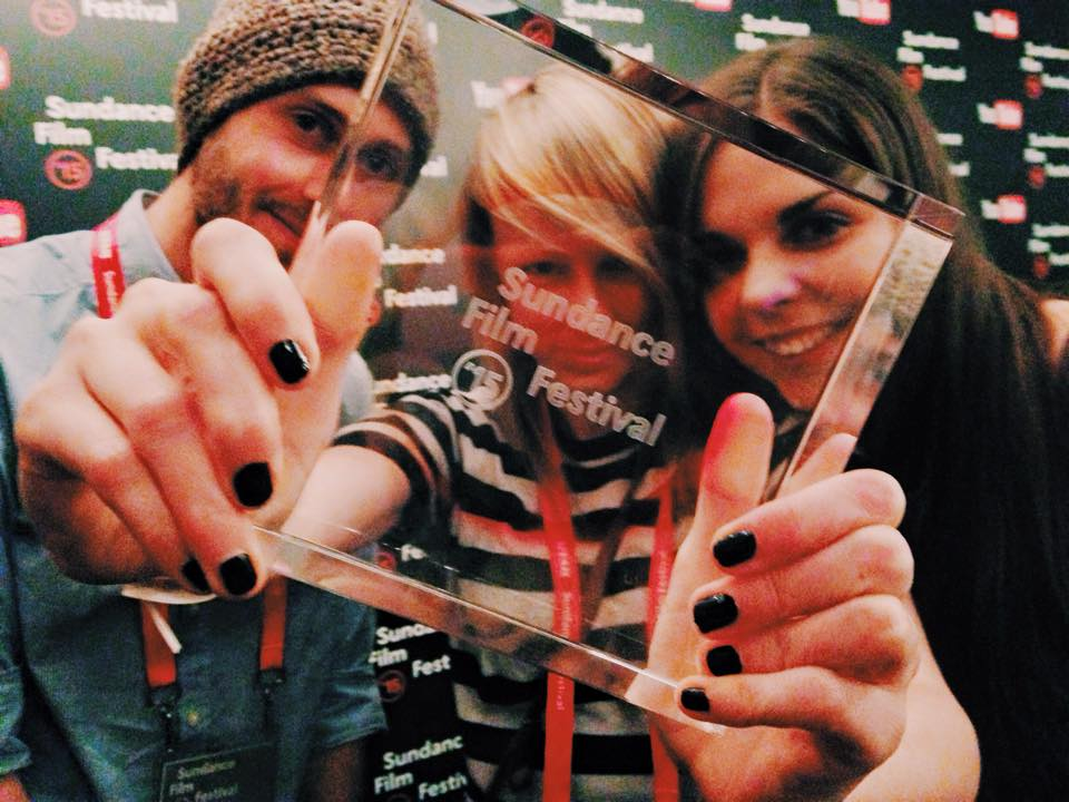 Michael (Producer, Cinematographer), Kitty & Katya with the Sundance award.