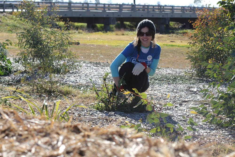 (Photo Credit: Sharon Ung) Steph happily doing some weeding at the Land Care project