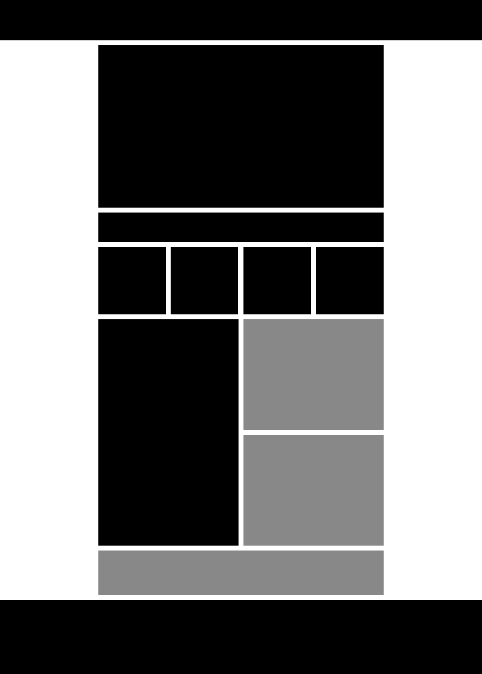 Layout Guide for Advertisers -- Sports content represented in black.  Advertising content represented in grey.