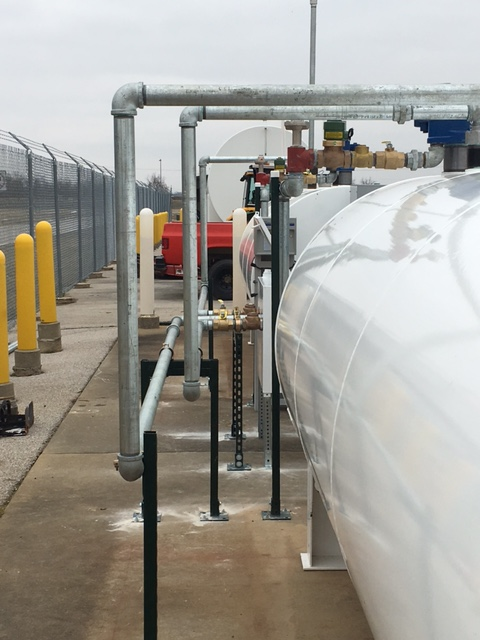 Aviation: De-Icer Tanks Installation - Our construction team threaded & installed these tanks for a local airport & our service technicians hooked all the probes up to the automatic tank gauge.
