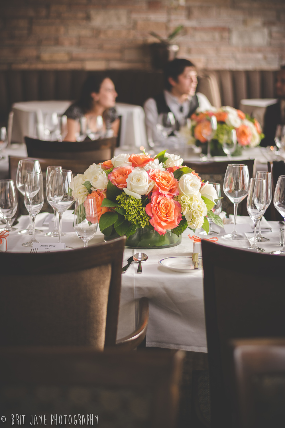 OrangeWeddingReceptionCenterpieceTheMarineRoom