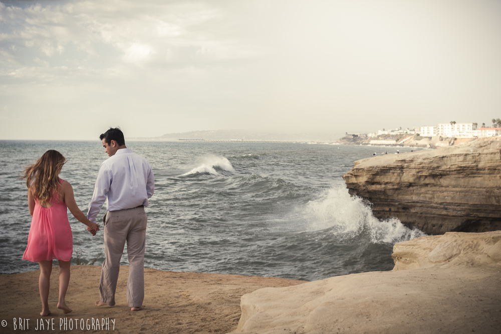 sunset cliffs engagement photo