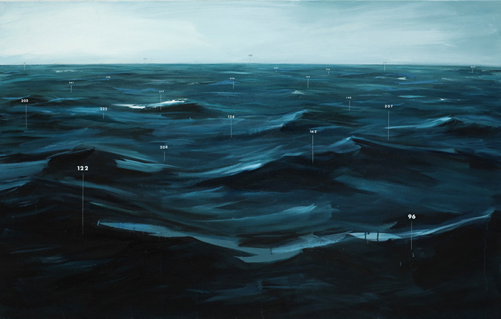 "Oliver Jeffers, Fathom Painting No. 1, 2010, oil and Letraset on canvas, 28"" x 48"""