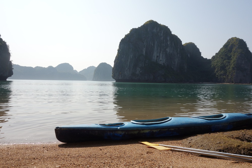 A beach we kayaked to off of Cat Ba Island