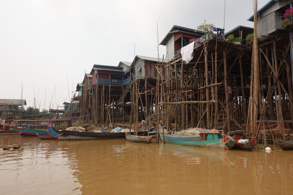 Village on stilts due to lake flooding