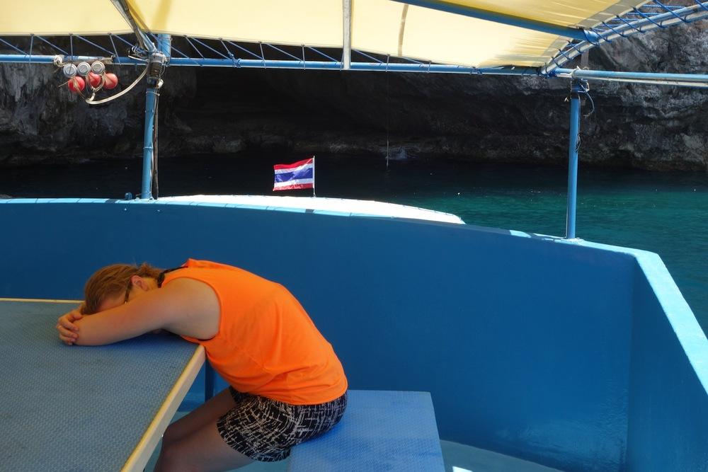 Whitney's seasickness = sleep