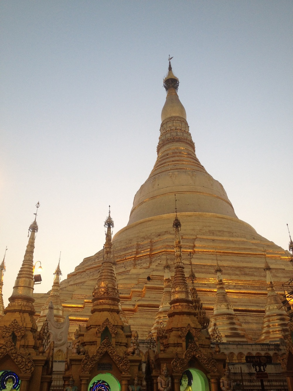 Pagoda at sunset (yes, those are LED displays at the bottom... they're everywhere)