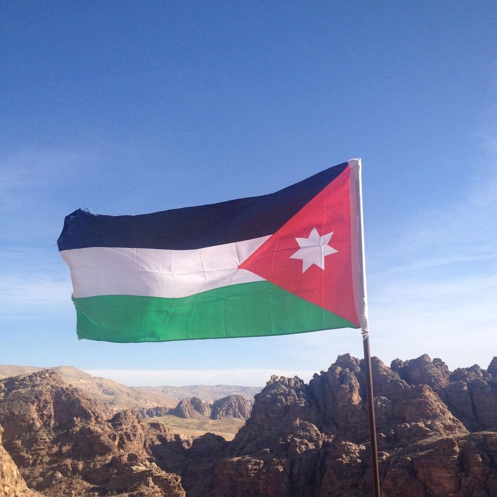 Jordanian flag flapping in the wind