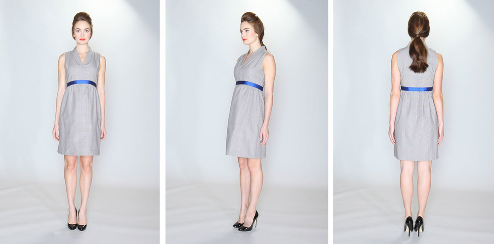 vestito | 007  the pleated shoulder dress 100% cotton grey plaid canvas. Sleeveless dress with stand-up shawl collar. Pleated shoulders. Royal blue silk/wool contrast trim. Lined bodice and underlined skirt. Dry clean only.