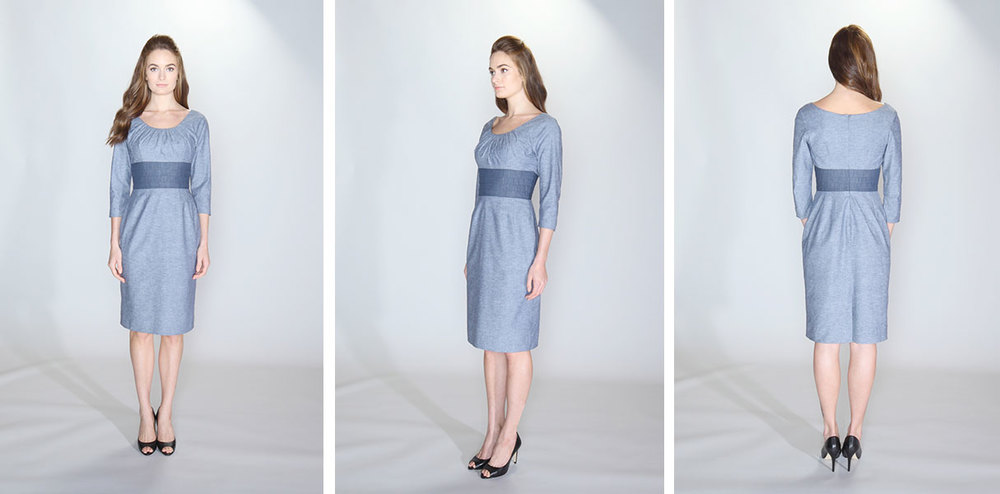 vestito | 005 the cummerbund dress 97% cotton/3% spandex indigo chambray. 100% cotton indigo chambray contrast cummerbund waist. Boat neckline with ¾ length sleeves and kick pleat. Lined bodice and skirt. Dry clean only.