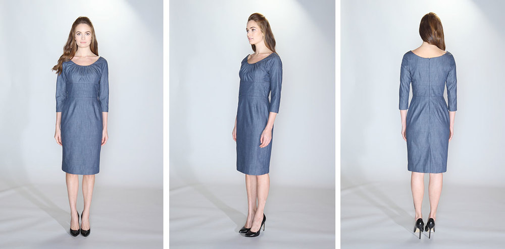 vestito | 005 the cummerbund dress 100% cotton indigo chambray. Cummerbund waist and boat neckline.  ¾ length sleeves and kick pleat. Lined bodice and skirt. Dry clean only.