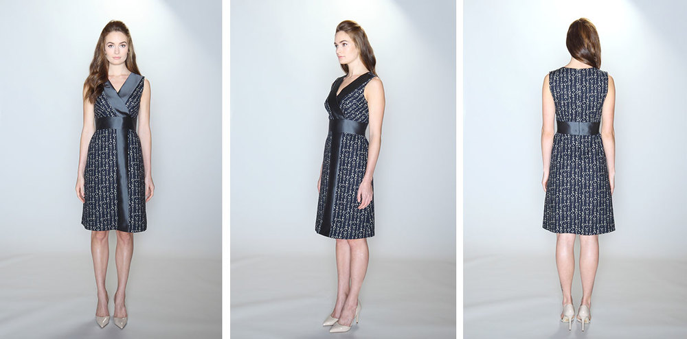 vestito | 012 the bisect dress 100% cotton navy scribble text print. 51% silk/49% wool charcoal grey contrast panel. Sleeveless dress with surplice bodice, yoke waist and A-line skirt with shirred waist. Lined bodice and skirt. Dry clean only