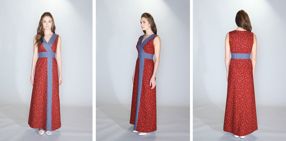 vestito | 012 the bisect dress (maxi) 100% cotton burgundy fireflies print. 97%cotton/3% spandex indigo chambray contrast panel. Sleeveless dress with surplice bodice, yoke waist and A-line skirt with shirred waist. Lined bodice and skirt. Dry clean only