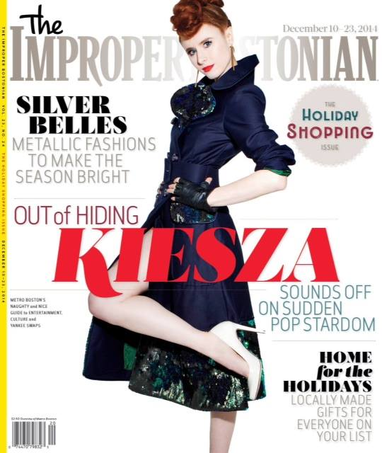 We opened the season with supermodel Coco Rocha in People magazine in our darted bodice dress. We continue with another first for ricorso – a cover! If you're out East, pick up a copy of Improper Bostonian featuring pop sensation Kiesza wearing our navy cotton canvas and sequin trench coat.