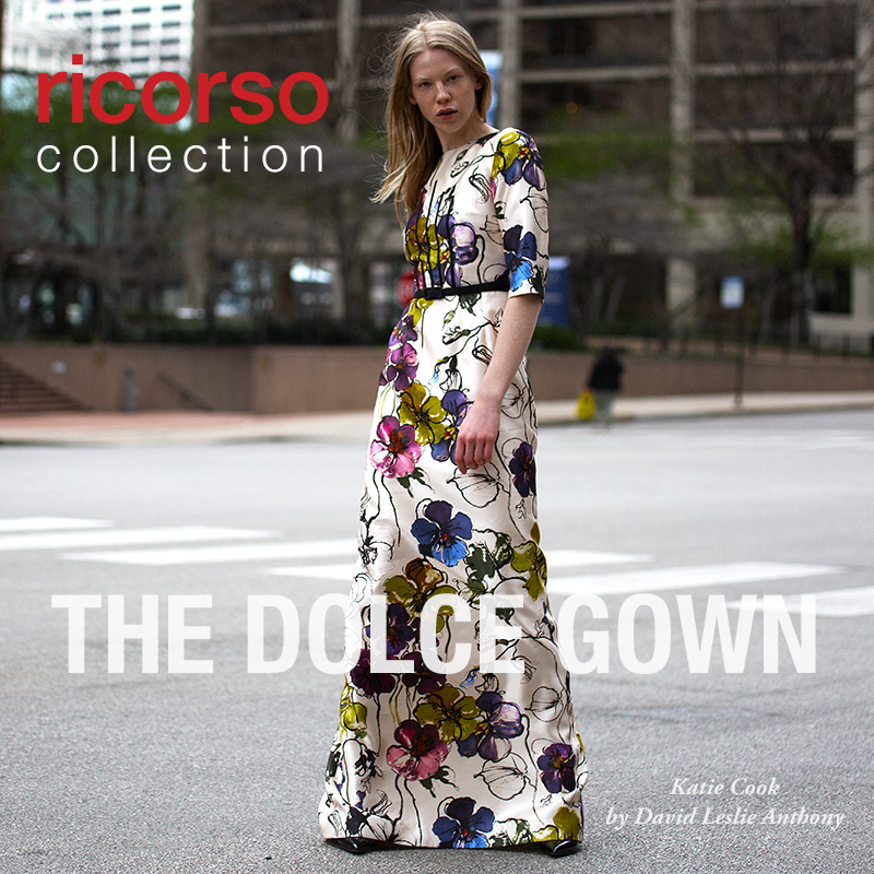 Presenting our new capsule collection for fall/holiday 2016 featuring Katie Cook by David Leslie Anthony: The Dolce Gown in Italian floral silk mikado.