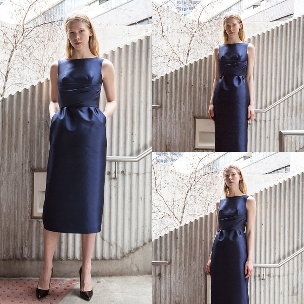 From our #fallholiday #collection -- the Marilyn Dress in navy silk wool