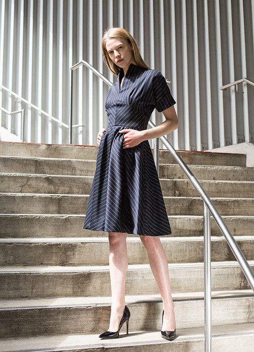 From our #fallholiday #collection. The Darted Bodice Dress in navy w/ white pinstripe wool & cashmere.