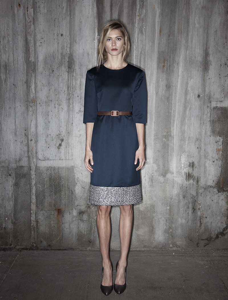 Coffee to cocktails. A #throwbackthursday to our Fall/Winter/Holiday 2014 Collection featuring the Shift Dress (with pockets) in Navy Silk Wool with Sequined plaid border trim.
