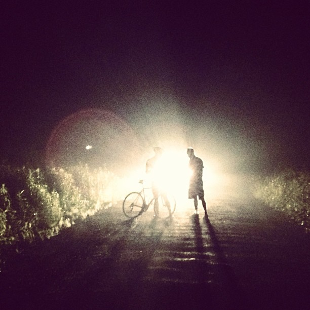 Stage 20 Around 11pm. The moment we realized that the last 2 hours of climbing steep gravel roads in the dark had taken is in a circle. Our Garmins had failed us and we still had 35 miles to ride. (at Somewhere in PA)