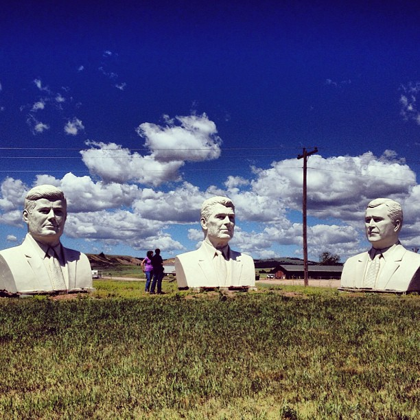 Never talk politics in the team car Stage 11 - roadside attractions in South Dakota. Much debate in the LIOTR team car - is the guy on the left supposed to be Rumsfeld or JFK?