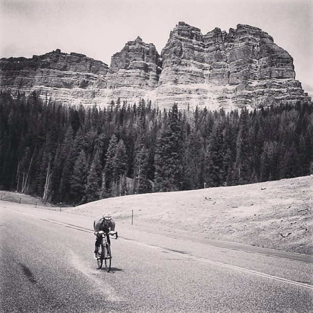 LIOTR Stage 8 Descending from the 18 mile climb to the Continental Divide. The first 60 miles today were all uphill. The next 110 were downhill, thankfully. Photo via our driver / all around caretaker @tdebner. For a slightly different view of LIOTR follow Tim and our photographer @jkendi