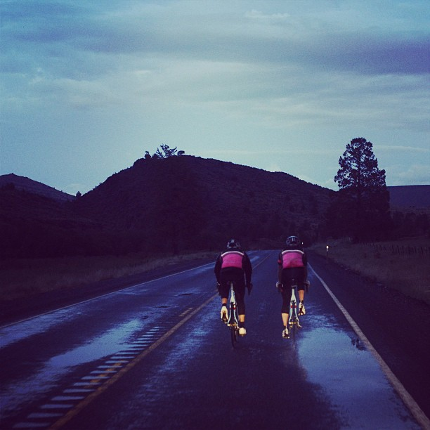 Doing the last miles by headlights Having a team car with you is awesome when you've ridden 158 miles with 20 left to go and the sun sets anyway. (at John Day, Oregon)