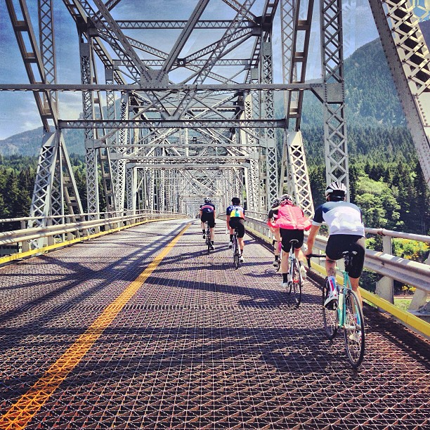 Saturday Century   115 mile Bridge Of The Gods ride today with a solid crew. When you're riding across the bridge you can see straight down to the water. Scary/awesome.