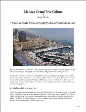 """""""Monaco Grand Prix Culture"""" May 16, 2014"""