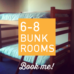 Bunk beds, desk, lamp, ceiling fan, lockers, a/c, night light, private bath across the hall.  Room #'s 20, 21, 24
