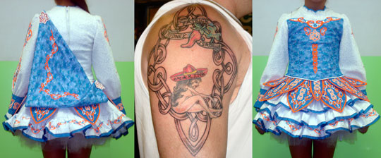 Two small tattoos by other artists become one piece with the addition of Celtic Knotwork.
